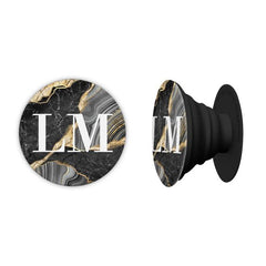 Personalised Black and Gold Marble Name Phone Grip