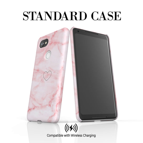 Personalised Pink Heart Marble Initials Google Pixel 2 XL Case