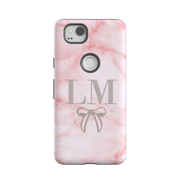 Personalised Pink Bow Marble Google Pixel 2 Case