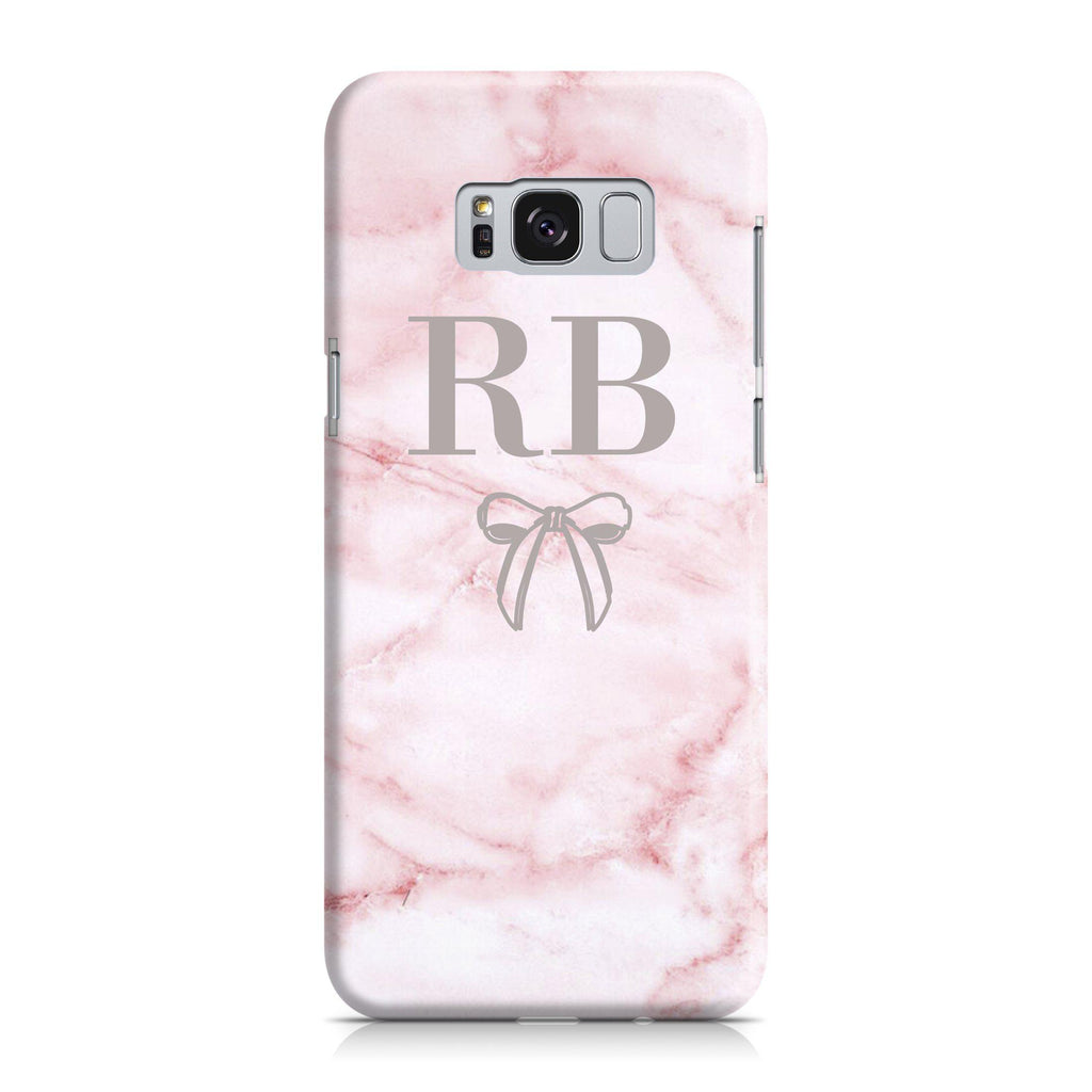 Personalised Cotton Candy Bow Marble Initials Samsung Galaxy S8 Plus Case