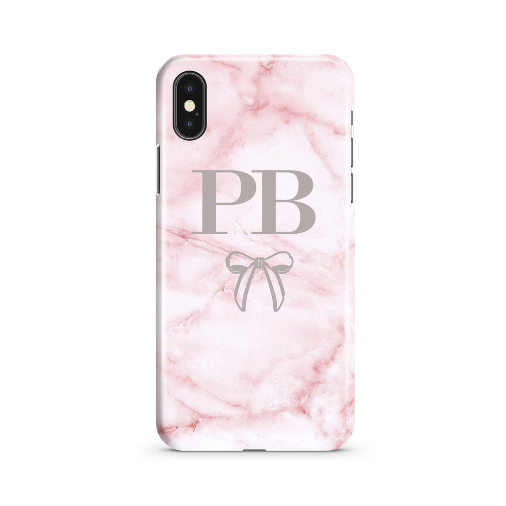 Personalised Cotton Candy Bow Marble iPhone XS Max Case