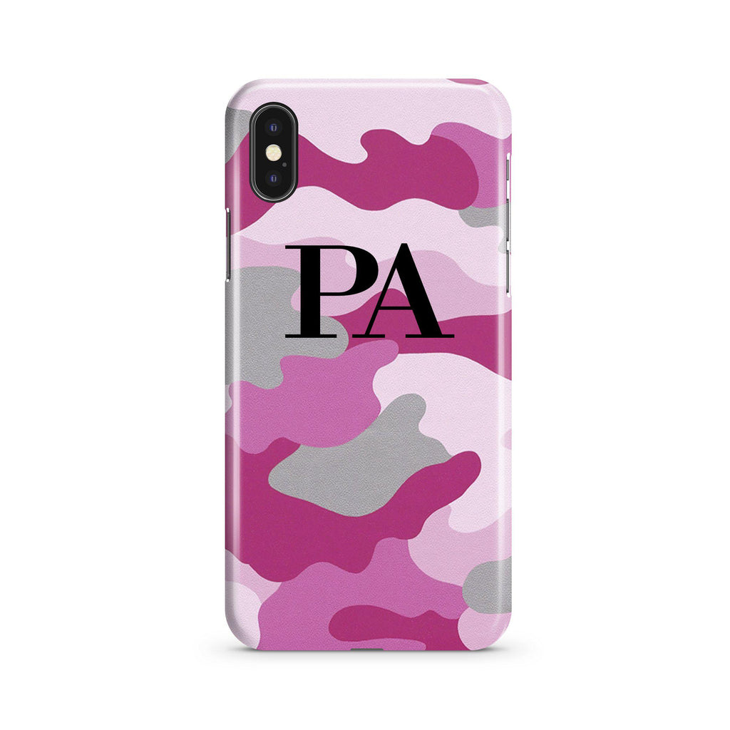 Personalised Pink Camouflage Initials iPhone XS Case