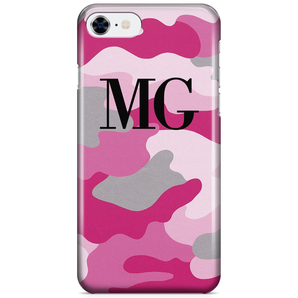 Personalised Pink Camouflage Initials iPhone 8 Case