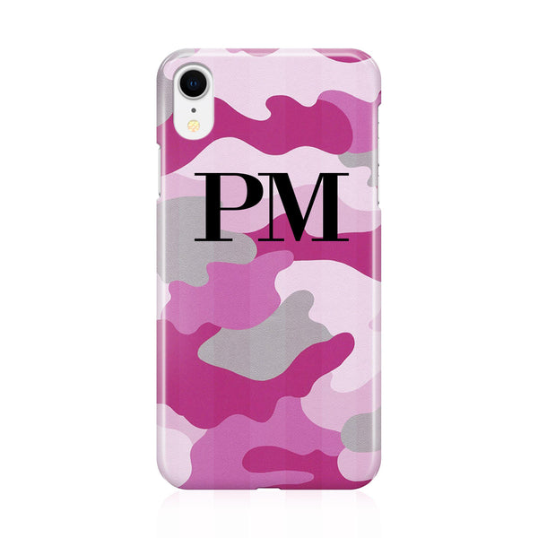 Personalised Pink Camouflage Initials iPhone XR Case