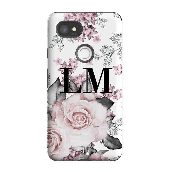 Personalised Pink Floral Rose Initials Google Pixel 2 XL Case