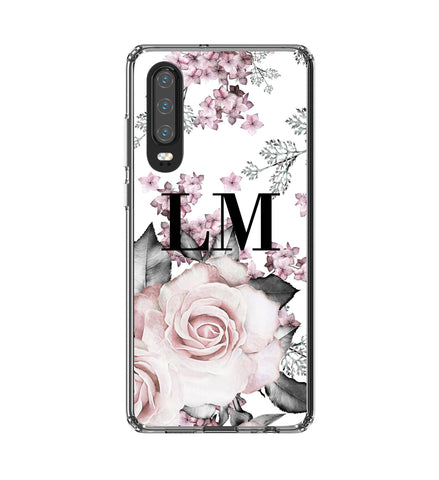 Personalised Pink Floral Rose Initials Huawei P30 Case