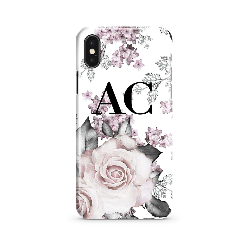 Personalised Pink Floral Rose Initials iPhone XS Max Case