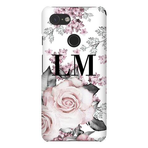 Personalised Pink Floral Rose Initials Google Pixel 3 Case