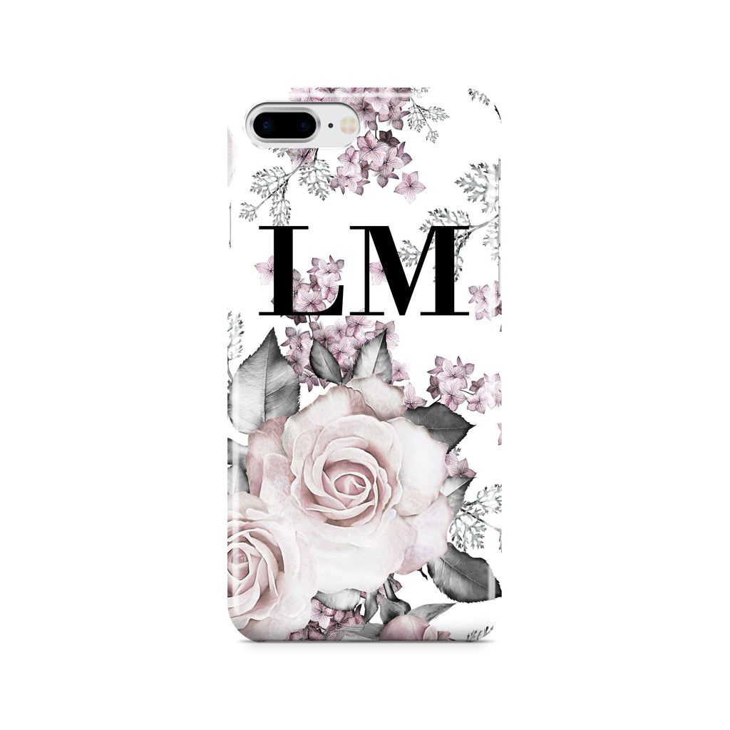 Personalised Pink Floral Rose Initials iPhone 7 Plus Case
