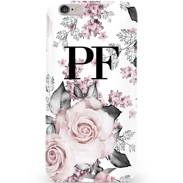 Personalised Pink Floral Rose Initials iPhone 6/6s Case