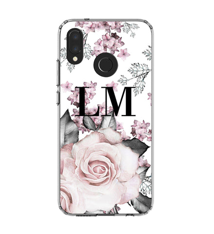 Personalised Pink Floral Rose Initials Huawei P20 Lite Case