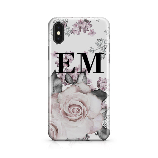 Personalised Pink Floral Rose Initials iPhone XS Case