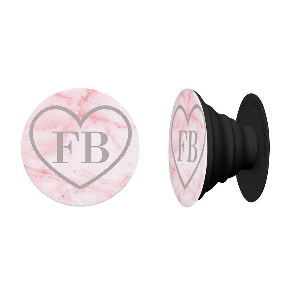 Personalised Cotton Candy Heart Marble Initials Phone Grip