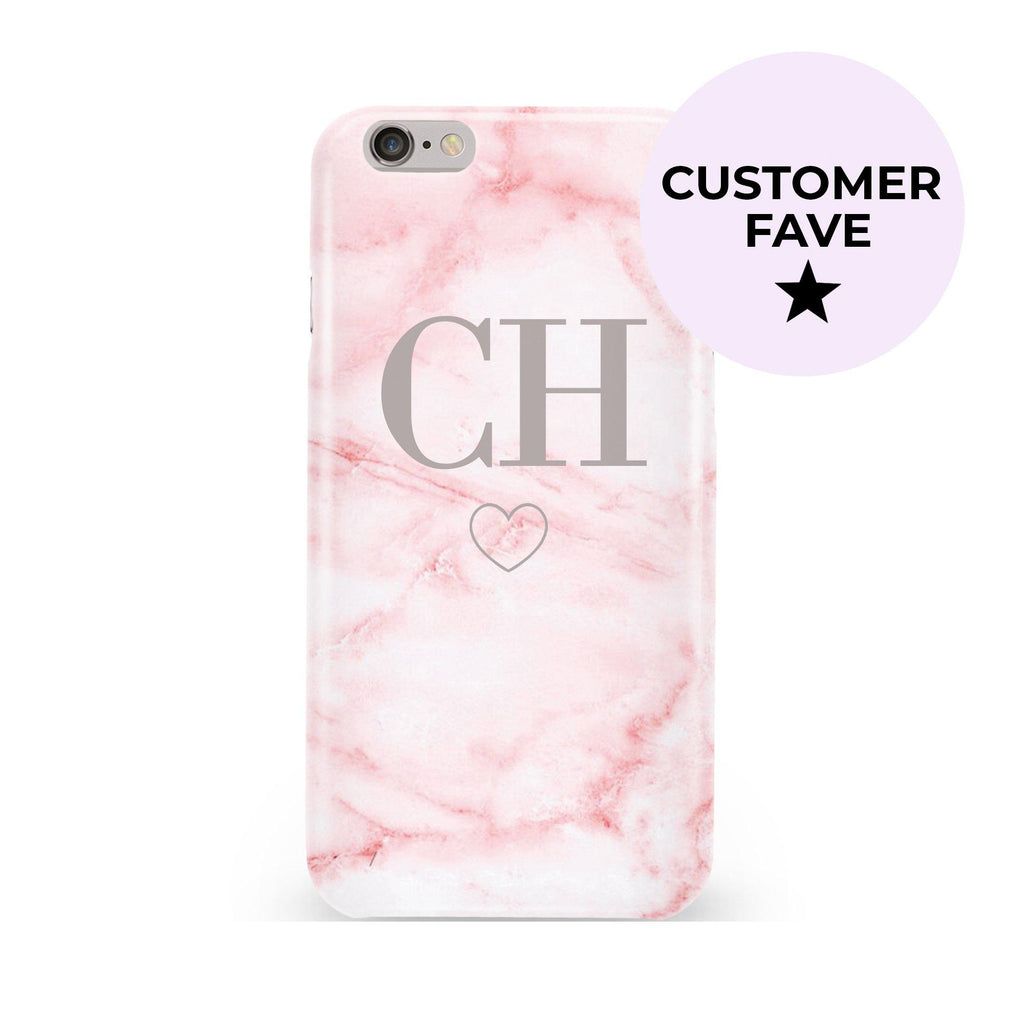 Personalised Cotton Candy Heart Marble Initials iPhone 6/6s Case