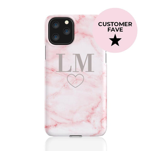 Personalised Cotton Candy Heart Marble iPhone 11 Pro Case