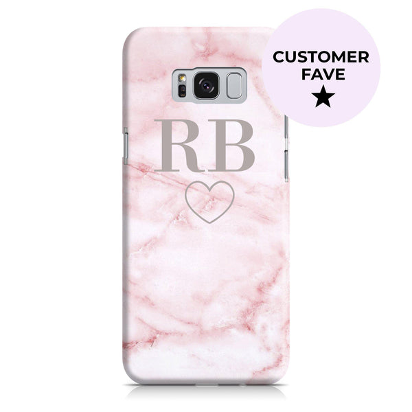 Personalised Cotton Candy Heart Marble Initials Samsung Galaxy S8 Plus Case