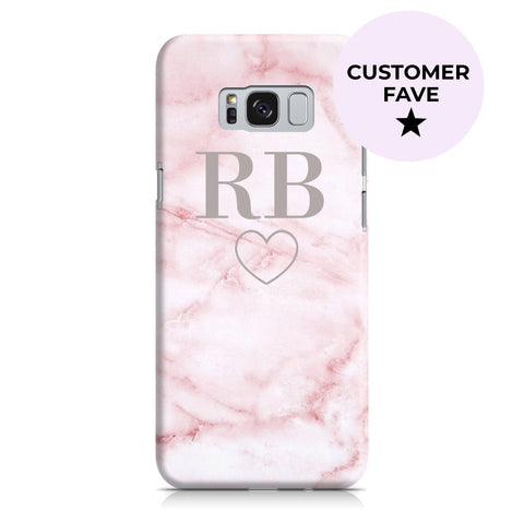 Personalised Cotton Candy Heart Marble Initials Samsung Galaxy S8 Case