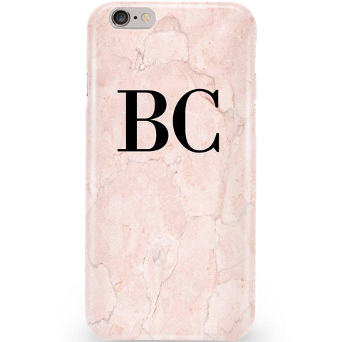 Personalised Pink Marble Initials Phone Case