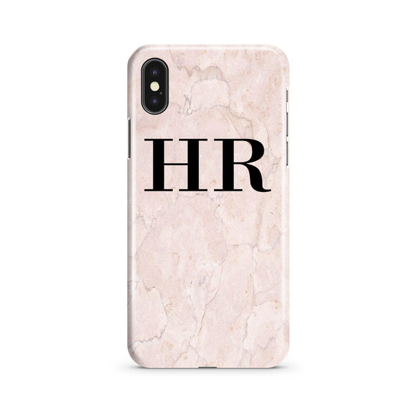 Personalised Pink Marble Initials iPhone XS Max Case