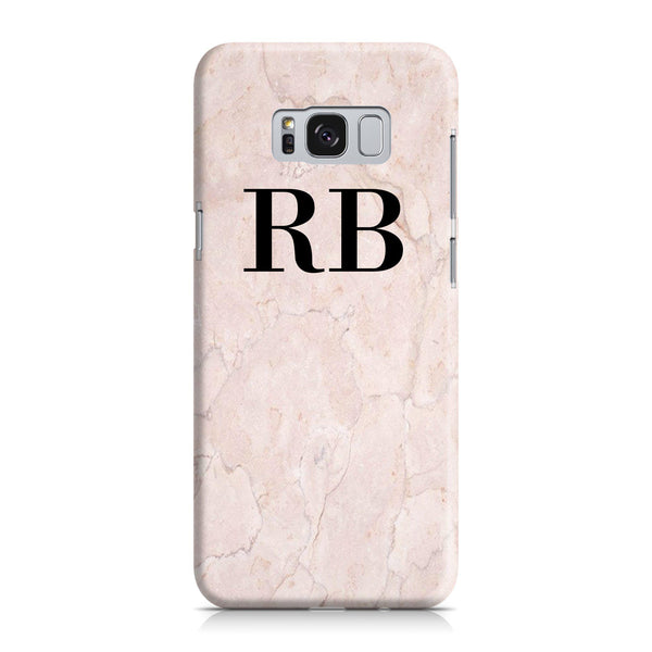 Personalised Pink Marble Initials Samsung Galaxy S8 Case