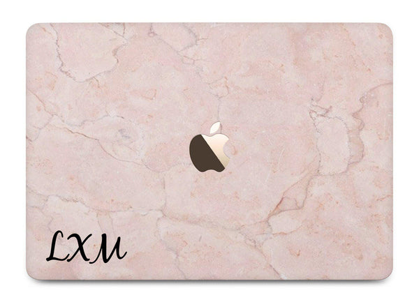 Personalised Pink Marble Initials MacBook Case