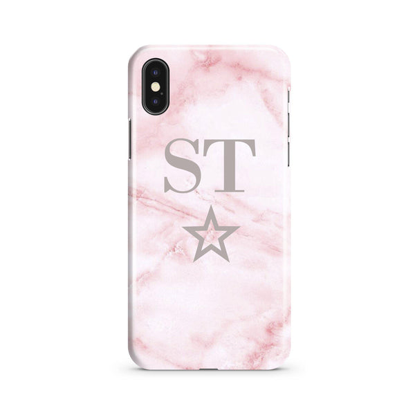 Personalised Cotton Candy Star Marble Initials iPhone XS Case