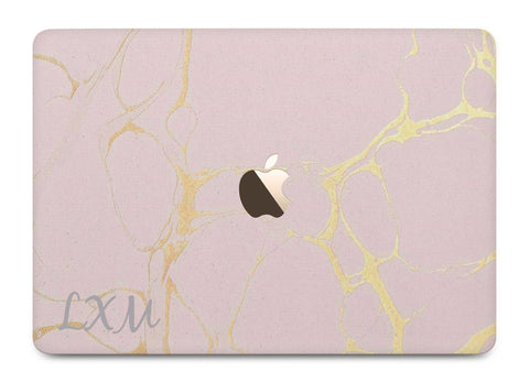 Personalised Pink x Gold Marble Initials MacBook Case