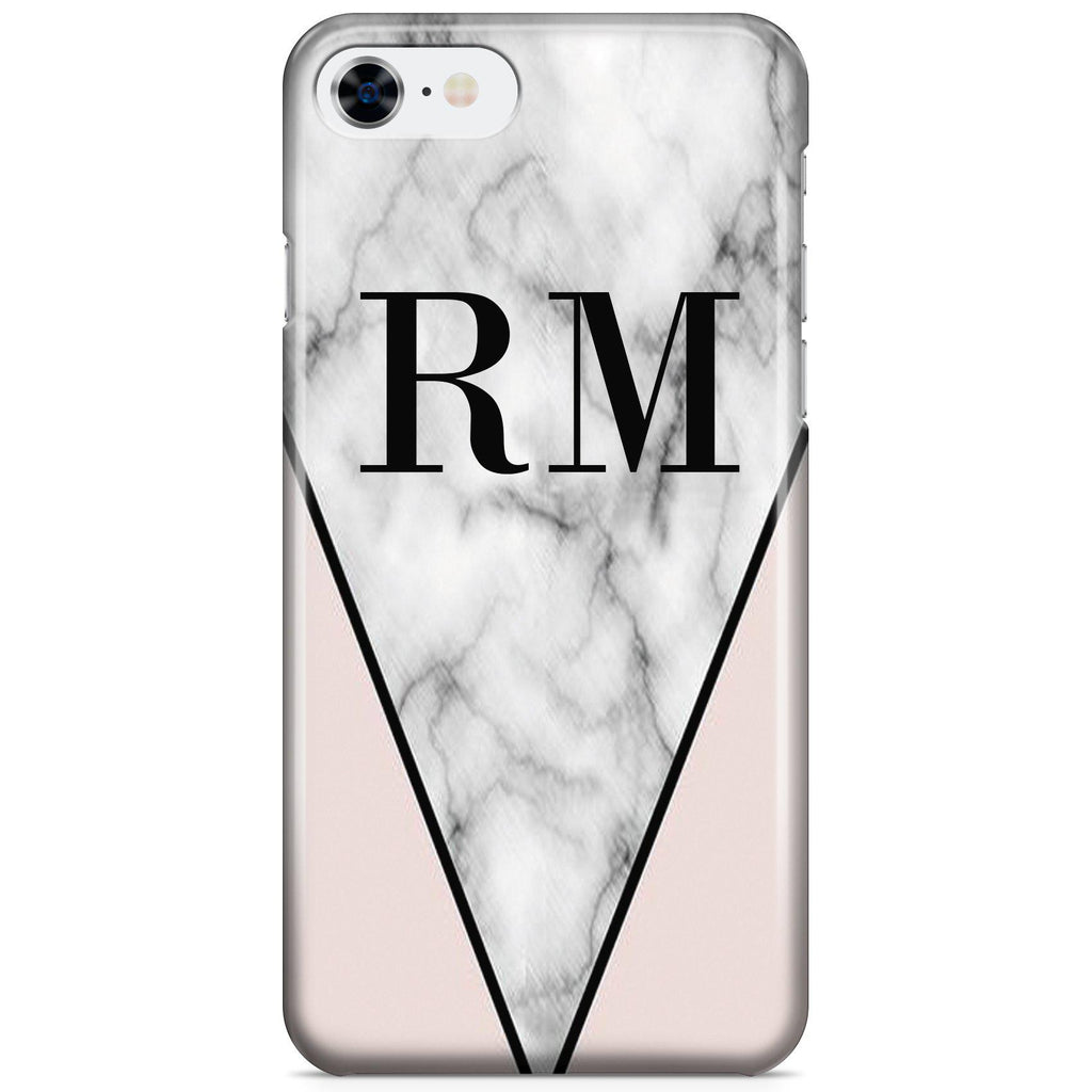 Personalised Pink x Grey Marble Contrast Initials iPhone 8 Case