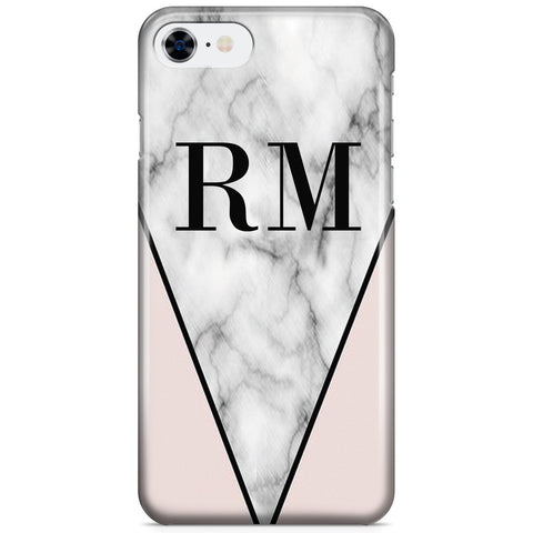 Personalised Pink x Grey Marble Contrast Initials iPhone 7 Case