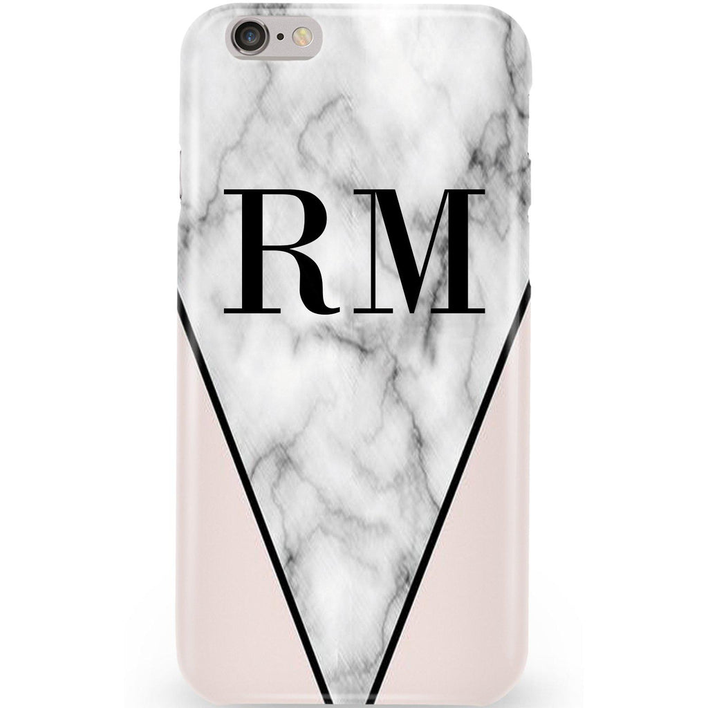Personalised Pink x Grey Marble Contrast Initials iPhone 6 Plus/6s Plus Case