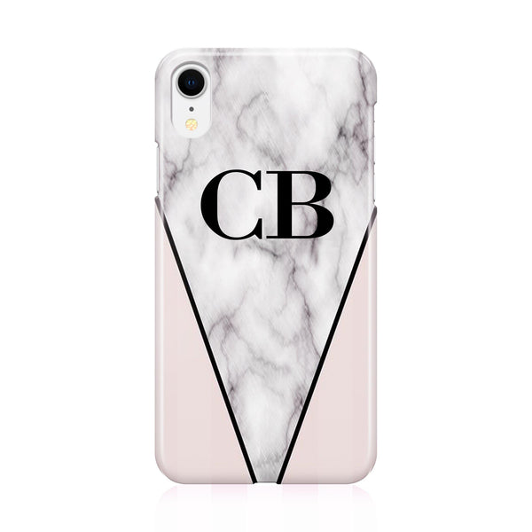 Personalised Pink x Grey Marble Contrast Initials  iPhone XR Case