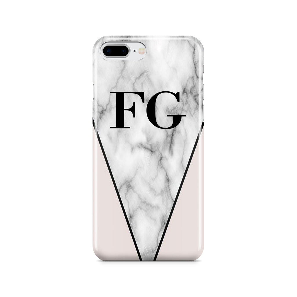 Personalised Pink x Grey Marble Contrast Initials iPhone 8 Plus Case