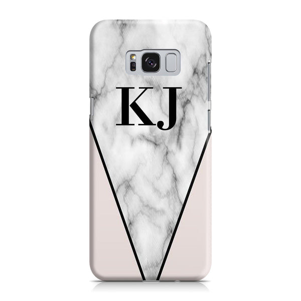 Personalised Pink x Grey Marble Contrast Initials Samsung Galaxy S8 Case
