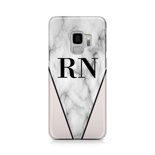 Personalised Pink x Grey Marble Contrast Initials Samsung Galaxy S9 Case