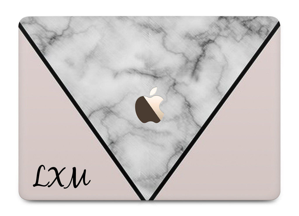 Personalised Pink x Grey Contrast Marble Initials MacBook Case