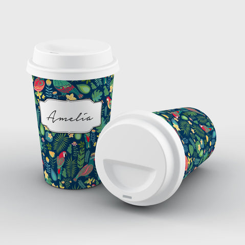 Personalised Parrot Name Reusable Coffee Cup