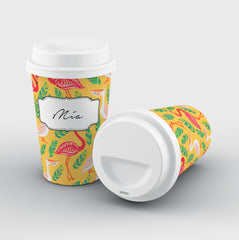 Personalised Pelican X Flamingo Name Reusable Coffee Cup