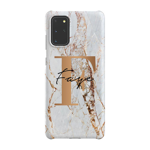 Personalised Cracked Marble Bronze Initials Samsung Galaxy S20 Plus Case