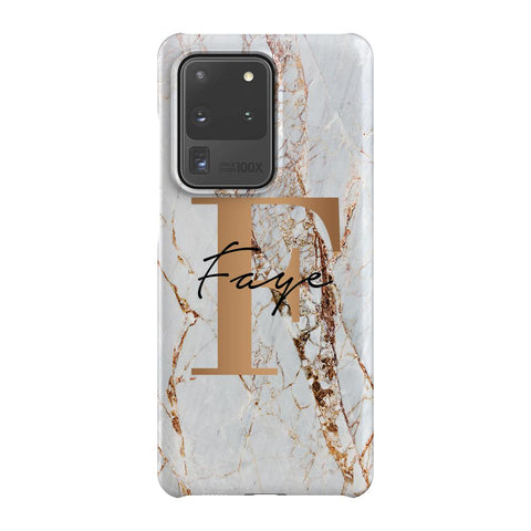 Personalised Cracked Marble Bronze Initials Samsung Galaxy S20 Ultra Case