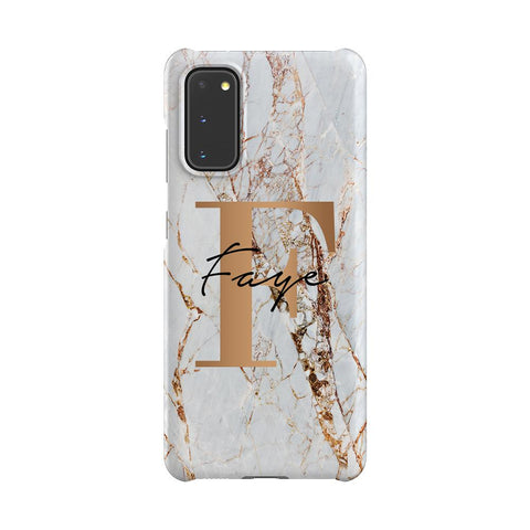 Personalised Cracked Marble Bronze Initials Samsung Galaxy S20 Case