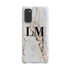 Personalised Cracked Marble Initials Samsung Galaxy S20 Case