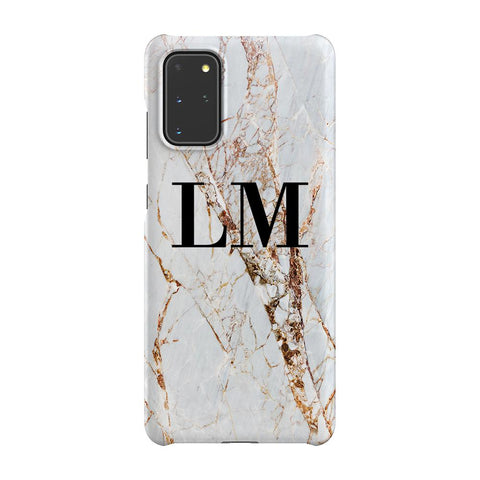 Personalised Cracked Marble Initials Samsung Galaxy S20 Plus Case