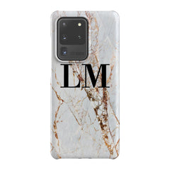 Personalised Cracked Marble Initials Samsung Galaxy S20 Ultra Case