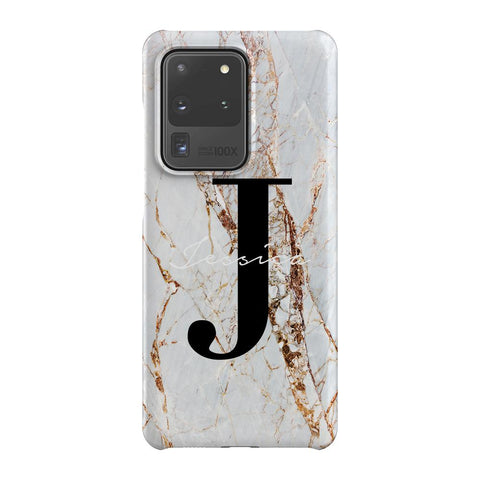Personalised Cracked Marble Name Initials Samsung Galaxy S20 Ultra Case