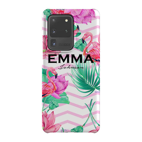 Personalised Flamingo Name Samsung Galaxy S20 Ultra Case