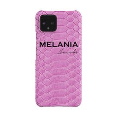 Personalised Pink Snake Skin Name Google Pixel 4 Case