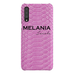 Personalised Pink Snake Skin Name Samsung Galaxy A70 Case