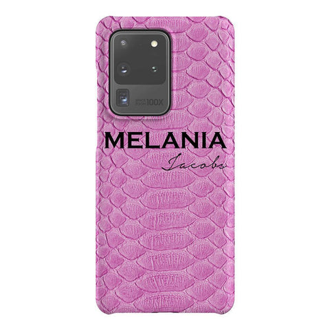 Personalised Pink Snake Skin Name Samsung Galaxy S20 Ultra Case