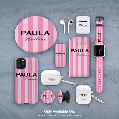 Personalised Pink Stripe Phone Case Accessories Package