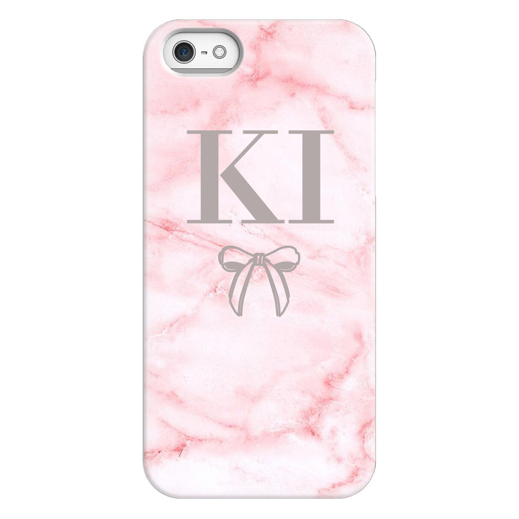 Personalised Cotton Candy Bow Marble Initials iPhone 5/5s/SE (2016) Case